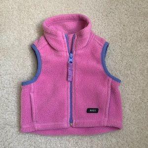 REI pink fuzzy vest